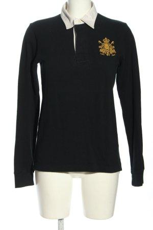 Ralph Lauren Polo-Shirt schwarz-hellorange Schriftzug gestickt Casual-Look