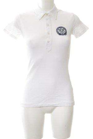 Ralph Lauren Polo-Shirt weiß-dunkelblau Schriftzug gestickt Casual-Look