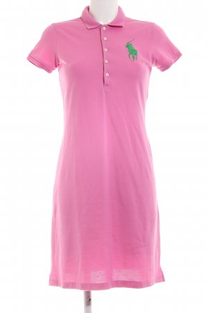 Ralph Lauren Polo Dress pink embroidered lettering casual look
