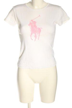 Ralph Lauren T-shirt imprimé blanc-rose imprimé avec thème