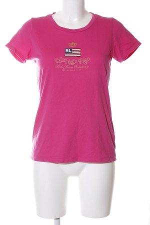 Ralph Lauren Print-Shirt pink-goldfarben Schriftzug gedruckt Casual-Look