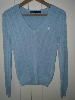 Ralph Lauren Sport Warkoczowy sweter błękitny Bawełna