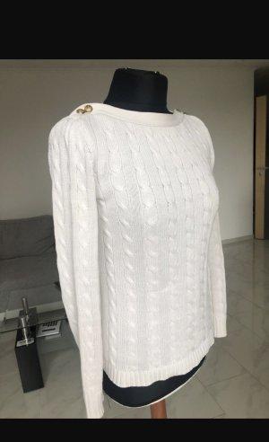 Lauren by Ralph Lauren Warkoczowy sweter w kolorze białej wełny Poliester