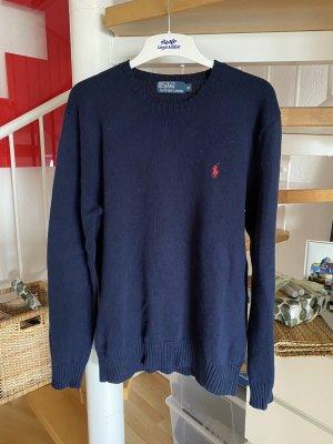 Polo Ralph Lauren Cienki sweter z dzianiny ciemnoniebieski-czerwony