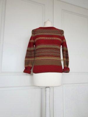 Ralph Lauren Pullover Leinen Wolle Alpa ka Rot gelb grün