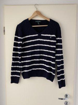 Ralph Lauren Warkoczowy sweter ciemnoniebieski-biały