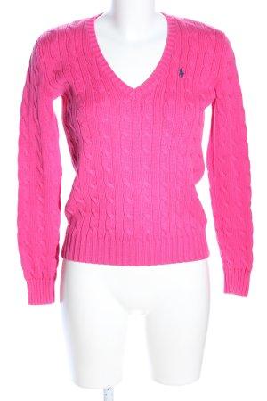 Ralph Lauren Sport Warkoczowy sweter różowy Bawełna