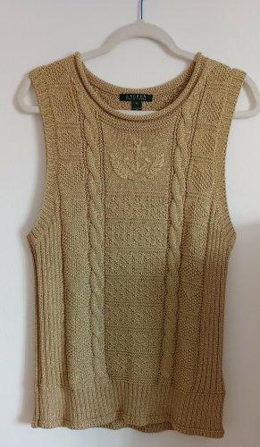 Lauren by Ralph Lauren Sweter bez rękawów z cienkiej dzianiny złoto Bawełna