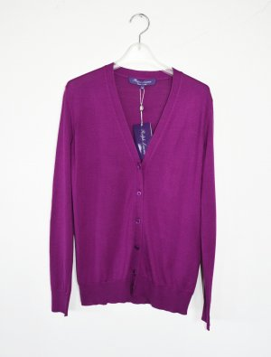 Ralph Lauren Purple Label Cardigan Strickjacke Berry XS 100% Seide neu
