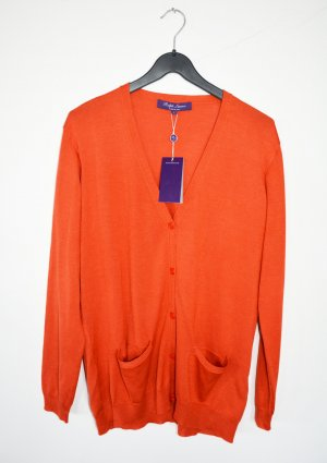 Ralph Lauren Purple Label Cardigan Strickjacke Orange Kaschmir Seide L neu