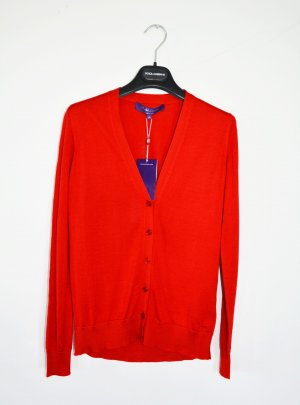 Ralph Lauren Purple Label Cardigan Strickjacke Rot XS 100% Seide neu
