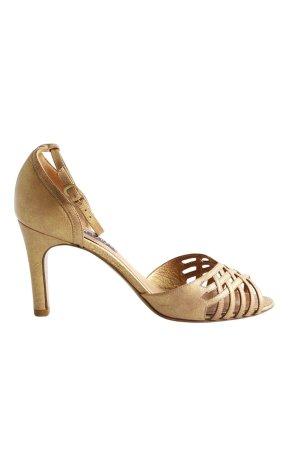 Ralph Lauren Sandalias de tacón de tiras color oro elegante