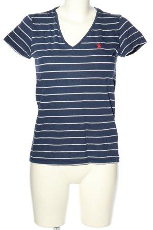 Ralph Lauren T-shirt rayé bleu-blanc lettrage brodé style décontracté