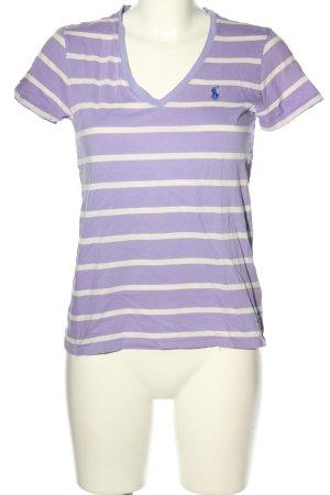 Ralph Lauren Koszulka w paski fiolet-biały Wyhaftowany logo W stylu casual