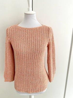 RALPH LAUREN Rosa gestrickter Sommer-Pullover mit 3/4 Arm
