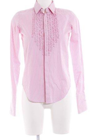 Ralph Lauren Rüschen-Bluse weiß-pink Streifenmuster Business-Look