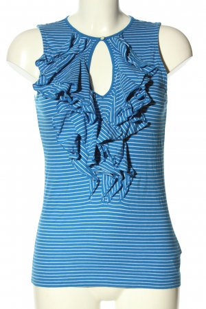 Ralph Lauren Frill Top blue-white striped pattern casual look