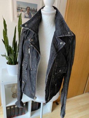 Ralph Lauren schwarze Bikerjacke Used Look, Größe M/38