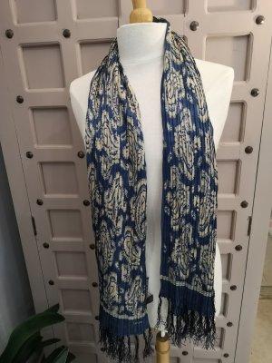 Ralph Lauren Sciarpa di seta beige chiaro-blu scuro