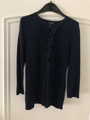 Ralph Lauren Shirt Pullover Rüschen blau dunkelblau Größe S