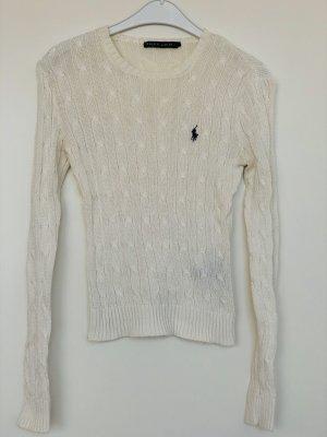 Ralph Lauren Slim-fit Pullover Mit Zopfmuster - Weiß