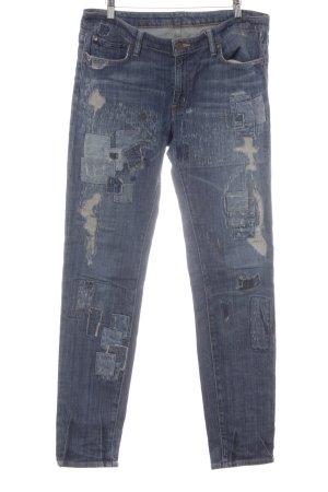 Ralph Lauren Slim Jeans kornblumenblau-stahlblau Metallknöpfe