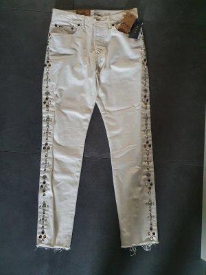 Polo Ralph Lauren Spodnie z wysokim stanem w kolorze białej wełny