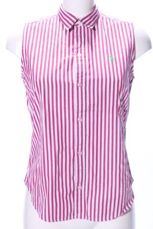 Ralph Lauren Sport ärmellose Bluse pink-weiß Streifenmuster Casual-Look