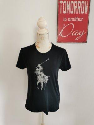 Ralph Lauren Sport Damen Shirt T-Shirt Logo Print schwarz Größe M
