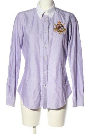 Ralph Lauren Sport Hemd-Bluse lila Schriftzug gestickt Casual-Look