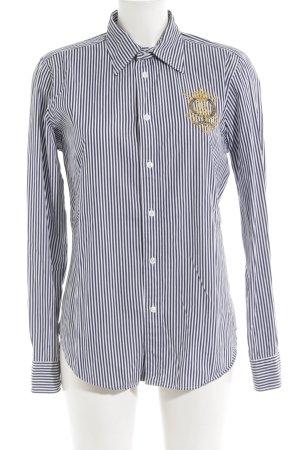 Ralph Lauren Sport Hemd-Bluse weiß-dunkelblau Streifenmuster klassischer Stil