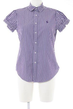 Ralph Lauren Sport Kurzarm-Bluse lila-weiß Streifenmuster Casual-Look