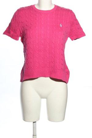 Ralph Lauren Sport Sweter z krótkim rękawem różowy Warkoczowy wzór