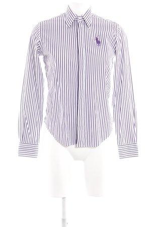 Ralph Lauren Sport Langarm-Bluse weiß-lila Schriftzug gestickt Business-Look