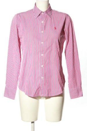 Ralph Lauren Sport Langarmhemd pink-weiß Schriftzug gestickt Casual-Look