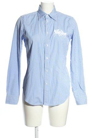 Ralph Lauren Sport Langarmhemd blau-weiß Schriftzug gestickt Business-Look