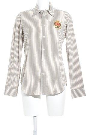 Ralph Lauren Sport Langarmhemd weiß-beige Streifenmuster klassischer Stil