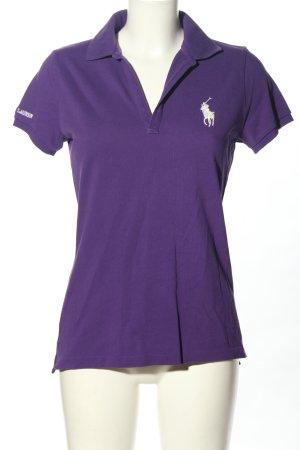 Ralph Lauren Sport Polo-Shirt lila-wollweiß Schriftzug gestickt Casual-Look