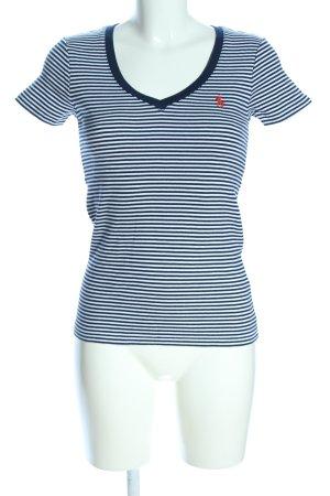 Ralph Lauren Sport T-shirt rayé bleu-blanc lettrage brodé style décontracté
