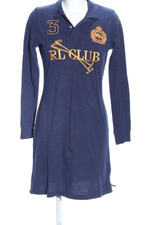Ralph Lauren Sport Shirtkleid blau-goldfarben Schriftzug gestickt Casual-Look