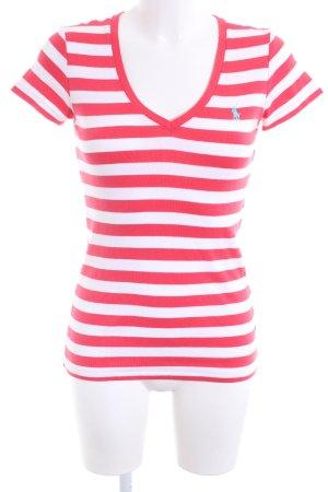 Ralph Lauren Sport T-Shirt pink-weiß Streifenmuster Casual-Look