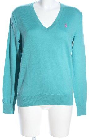 Ralph Lauren Sport V-Ausschnitt-Pullover türkis Schriftzug gedruckt Casual-Look