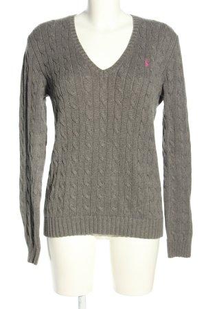 Ralph Lauren Sport Jersey con cuello de pico gris claro punto trenzado