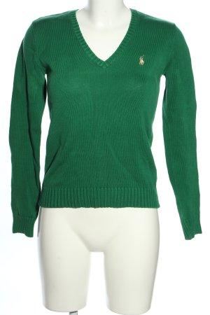 Ralph Lauren Sport V-Ausschnitt-Pullover grün Schriftzug gestickt Casual-Look