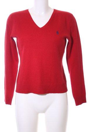 Ralph Lauren Sport V-Ausschnitt-Pullover rot Casual-Look