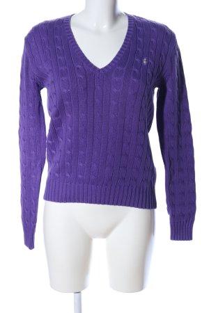 Ralph Lauren Sport V-Ausschnitt-Pullover lila Zopfmuster Casual-Look