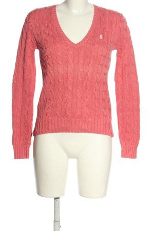 Ralph Lauren Sport V-Ausschnitt-Pullover pink Zopfmuster Casual-Look