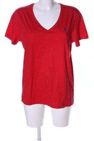Ralph Lauren Sport V-Ausschnitt-Shirt rot Schriftzug gestickt Casual-Look
