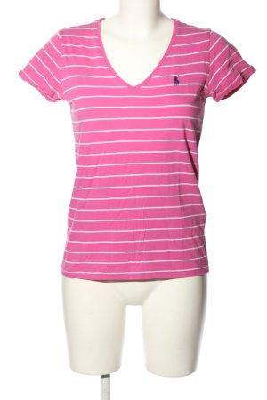 Ralph Lauren Sport V-Ausschnitt-Shirt pink-weiß Streifenmuster Casual-Look