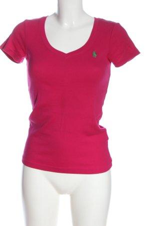 Ralph Lauren Sport V-Ausschnitt-Shirt pink Schriftzug gestickt Casual-Look